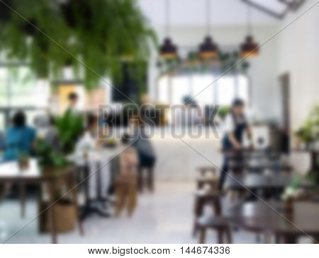 Abstract blur coffee shop interior stock photo