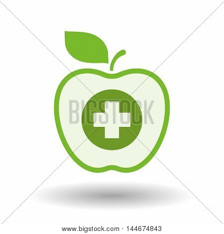 Isolated  Line Art Apple Icon With A Round Pharmacy Sign