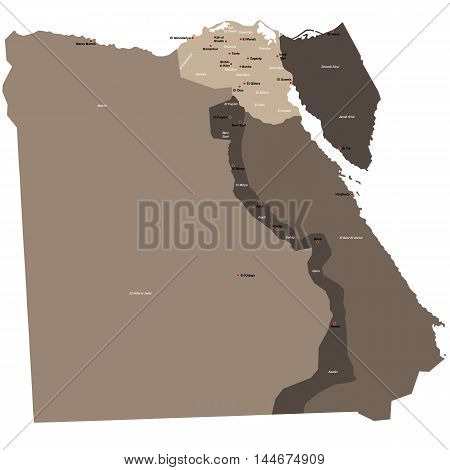 Large and detailed map of Egypt with all departments and main cities
