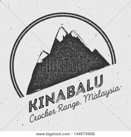 Kinabalu In Crocker Range, Malaysia Outdoor Adventure Logo. Round Mountain Vector Insignia. Climbing