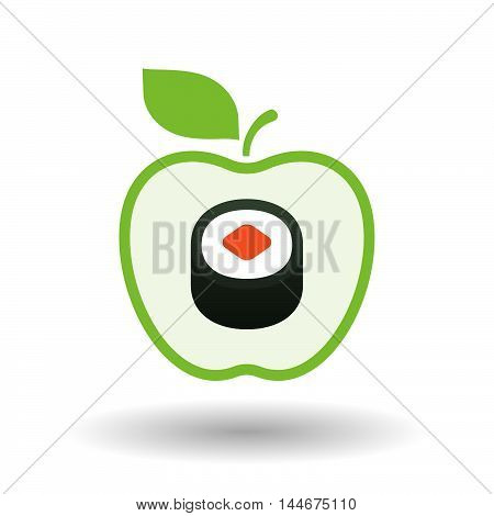 Isolated  Line Art Apple Icon With A Piece Of Sushi Maki