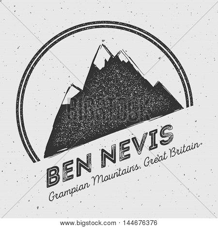 Ben Nevis In Grampian Mountains, Great Britain Outdoor Adventure Logo. Round Mountain Vector Insigni