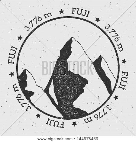 Fuji In Honshu, Japan Outdoor Adventure Logo. Round Stamp Vector Insignia. Climbing, Trekking, Hikin