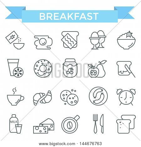 Breakfast icons, thin line, flat design