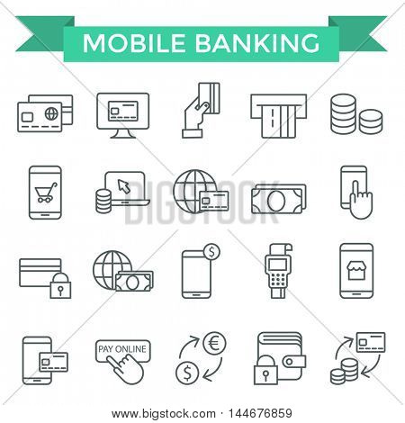 Mobile banking and pay on line icons, thin line, flat design