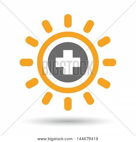 Isolated  Line Art Sun Icon With A Round Pharmacy Sign