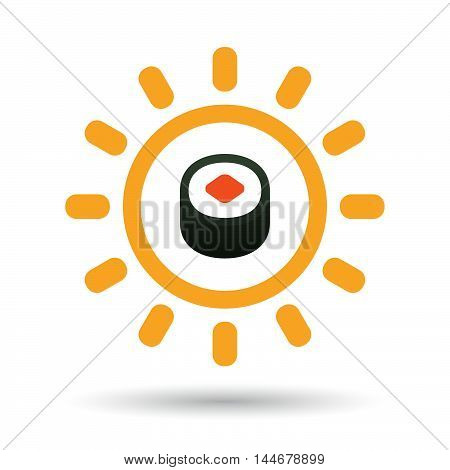 Isolated  Line Art Sun Icon With A Piece Of Sushi Maki