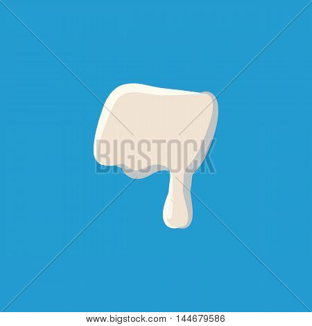 Dash punctuation mark isolated on baby blue background. Milky dash vector illustration