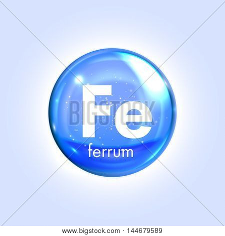 Ferrum mineral blue icon. Vector 3D glossy drop pill capsule. Iron metal mineral and vitamin complex. Healthy life medical and dietary supplement