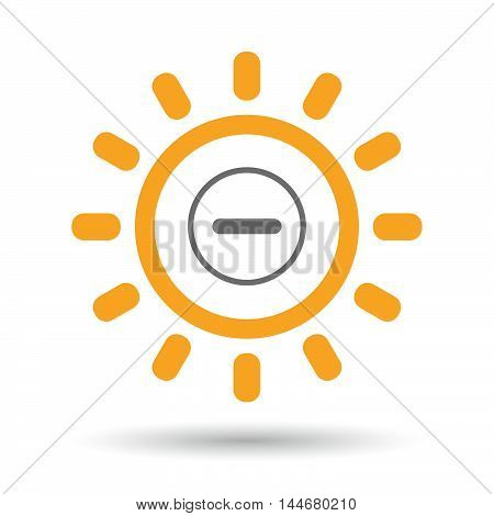 Isolated  Line Art Sun Icon With A Subtraction Sign