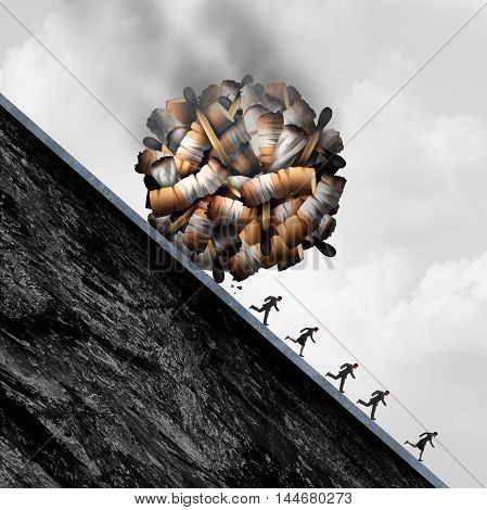 Dangers of smoking concept as a falling boulder made of smoke cigarette and tobacco objects as a medical risk and dangerous health care problem of smokers being endangered with 3D illustration elements.