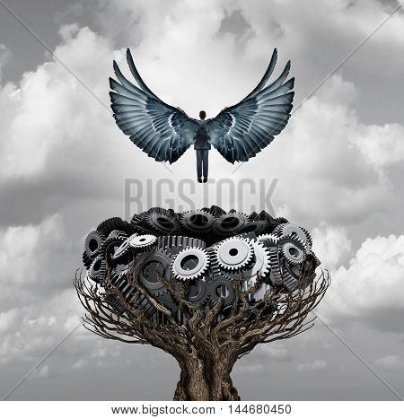 Businessman career start as a person with open wings flying up away from a nest made of gears and cogwheels as a business and industry metaphor for early corporate growth and quickstart entrepreneur with 3D illustration elements.