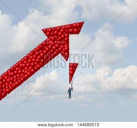 Business success builder concept as a businessman rising with balloons completing an arrow made of balloon objects as an integration solution metaphor with 3D illustration elements.