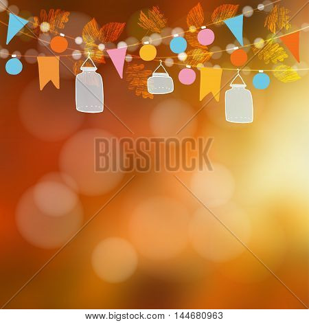 Autumn fall blurred card banner. Garden party decoration. Vector illustration background with garland of oak maple leaves lights glass jar lanterns party flags.