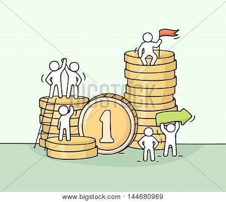 Sketch of working little people with stack of coins. Doodle cute miniature scene of workers. Hand drawn cartoon vector illustration for business design and finance.