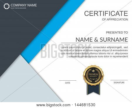 Certificate template, Certificate of achievement. Vector illustration