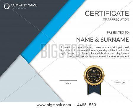 Certificate template, Certificate of achievement. Vector illustration