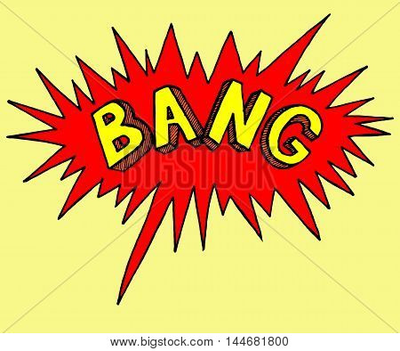 Comics style stamp of bang. Sticker emotion of explode. Colorful bright illustration. Freehand art.