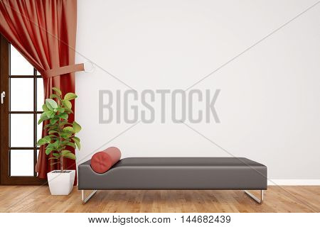 Couch in psychotherapy room in front of a blank wall (3D Rendering)