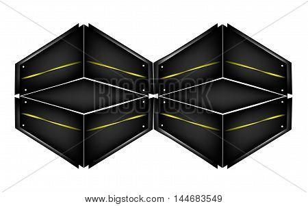 Vector realistic hexahedron dark, background, black hexagon