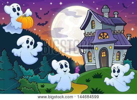 Ghosts near haunted house theme 3 - eps10 vector illustration.