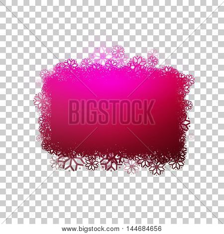 Red baner with snowflakes at transparent background. Clear bubble for your text. Frozen sticker with snow. Vector design.