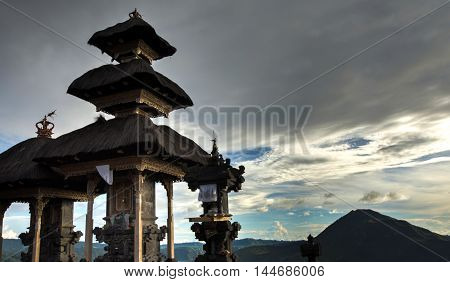 Pura Ulundanu Batur Temple the important hindu temple in Kintamani Bali island Indonesia