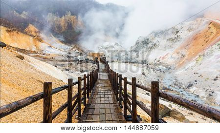 Jigokudani Hell Valley With Heavy Rain