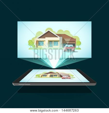 Tablet video projector vector illustration, concept of home cinema, film streaming