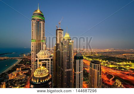 Majestic Colorful Dubai Marina Skyline During Sunset. Multiple Tallest Skyscrapers Of The World. Dub