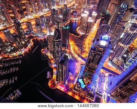 Majestic Colorful Dubai Marina Skyline During Night. Multiple Tallest Skyscrapers Of The World. Duba