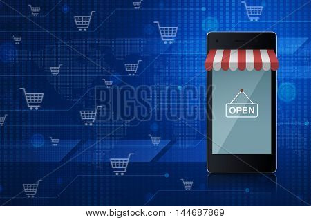 Modern smart mobile phone with on line shopping store graphic and open sign over digital world map technology style Elements of this image furnished by NASA