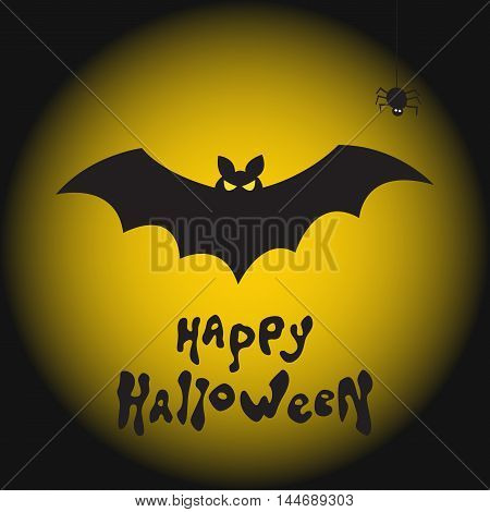 Fearsome bat spider and moon. Happy Halloween vector background.
