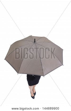 business woman take umbrella with isolated on white ackground asian