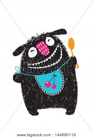 Happy funny little monster with a spoon and bib and big mouth for children cartoon illustration. Vector drawing.