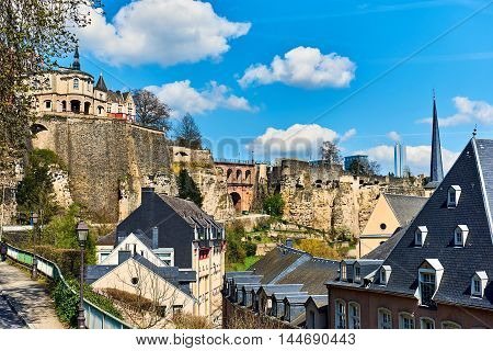 Luxembourg cityscape, spring time. Luxembourg, Western Europe
