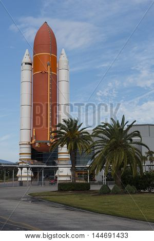 Cape Canaveral Florida USA Apollo rockets on display in the rocket garden at Kennedy Space Center
