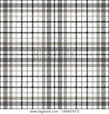 Seamless tartan plaid pattern. Twill texture in black, gray & brown on white background.