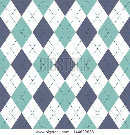 Seamless argyle pattern in bluish green, gray blue & white with blue stitch.