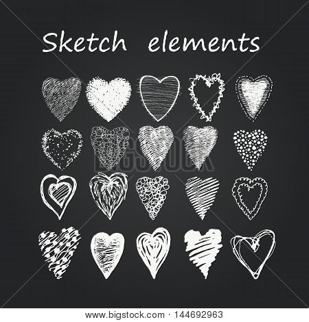 Set of sketch elements. Drawing hands heart. Different hatching. Different forms. On the chalkboard with chalk. Collection of chalk hearts.
