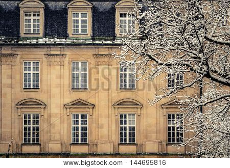 A Luxury Mansion House In Europe In The Winter Snow