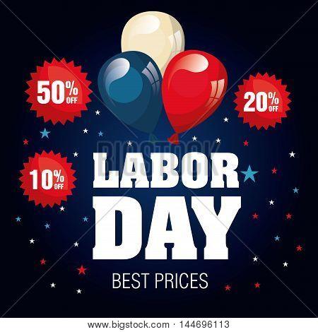 labor day sale big isolated icon vector illustration design
