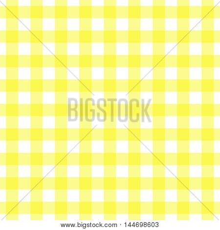 Seamless gingham pattern, yellow and white check. Tablecloth, placemat, picnic napkin print.