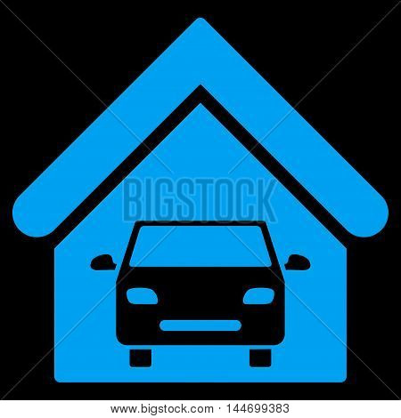 Car Garage icon. Vector style is flat iconic symbol, blue color, black background.