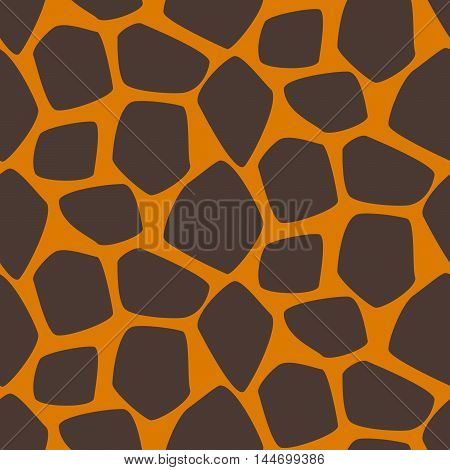 Giraffe skin vector seamless pattern. Giraffe brown and orange texture stains. Safari wild animal background.