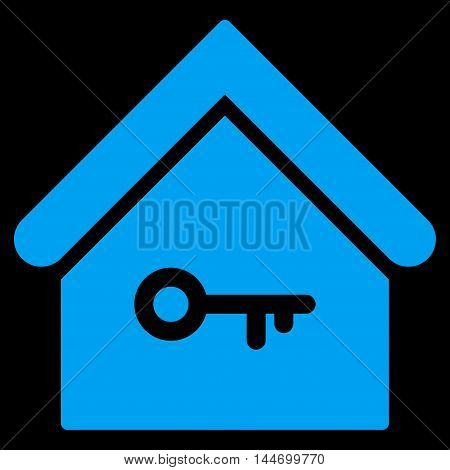 Home Key icon. Vector style is flat iconic symbol, blue color, black background.