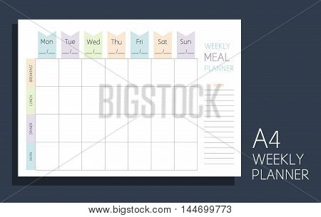 Weekly Meal Planner. Horizontal Blank Form. Format A4