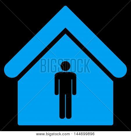 Man Toilet Building icon. Vector style is flat iconic symbol, blue color, black background.