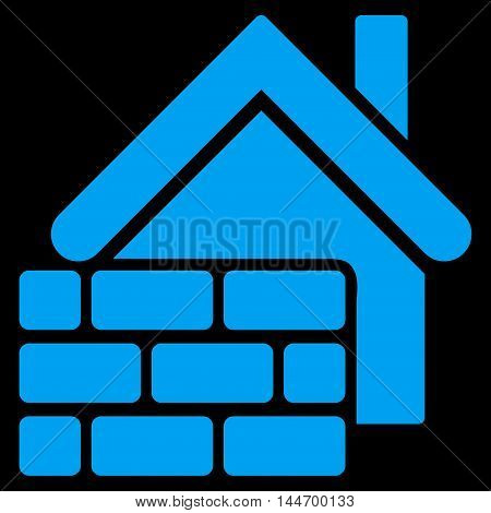 Realty Brick Wall icon. Vector style is flat iconic symbol, blue color, black background.