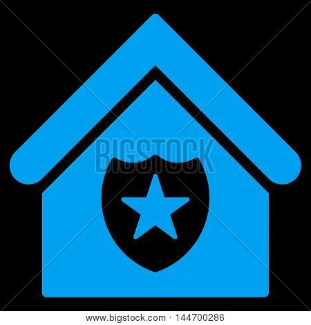 Realty Protection icon. Vector style is flat iconic symbol, blue color, black background.